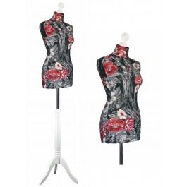 LUCCESI Damen Schneiderpuppe  Grösse/ Size L (40-42) / Torso-Überzug mit floralem Muster / Standfuss und Halsabschluss (Holz-Knauf) im Farbton weiss