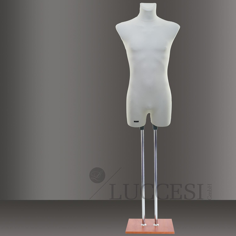 LUCCESI Schneiderpuppe Größe 50/52 (Size L) mit Arm- und Beinansatz / Torso mit Schonbezug im Farbton creme-weiss / Standfuss: Chrom-Doppelstange mit Bodenplatte im Farbton nussbaum