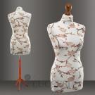 Schneiderbüsten von LUCCESI ermöglichen Kleidung auf Maß zu nähen - LUCCESI - Schneiderbüste creme-weiss mit floralem Muster (braun) Damen Grösse/Size XS, S, M, L - Schneiderbüsten in vielfältigen Größen und Farben