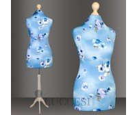 LUCCESI Schneiderpuppe weiblich Gr. 36/38 Überzug:  Blumenmuster (blau)  / Holz-Dreibein und Halsabschluss (Holz-Knauf) im Farbton weiss