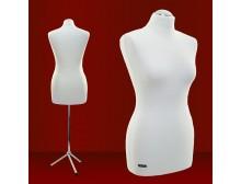 LUCCESI - Schneiderpuppe Damen Grösse/Size XS, S, M Modell #9 /  Torso mit Schonbezug im Farbton creme - weiss  / Standfuss: Metall-/Chrom - Dreibein / Halsabschluss: Chrom-Kappe