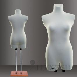 LUCCESI Damen Schneiderpuppe Grösse XS (34-36) oder M (38-40) mit Arm- und Beinansatz / Torso mit Schonbezug im Farbton creme-weiss / Standfuss: Chrom-Doppelstange mit Bodenplatte
