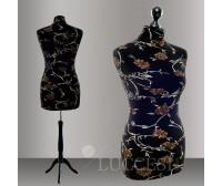 LUCCESI Schneiderpuppe weiblich Gr. 34 / 36, Überzug: schwarz mit Blumen + 1 Überzug: schwarz GRATIS  / Holz - Dreibein, schwarz