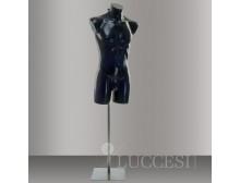 LUCCESI - Schaufensterpuppe Herren Torso Größe/Size L (Large/50-52)/ PE-Kunststoff im Farbton schwarz / Metall-Ständer lackiert im Farbton grau
